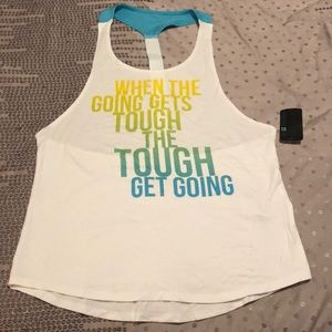 Forever 21 Graphic Knit Tank Top White & Multi